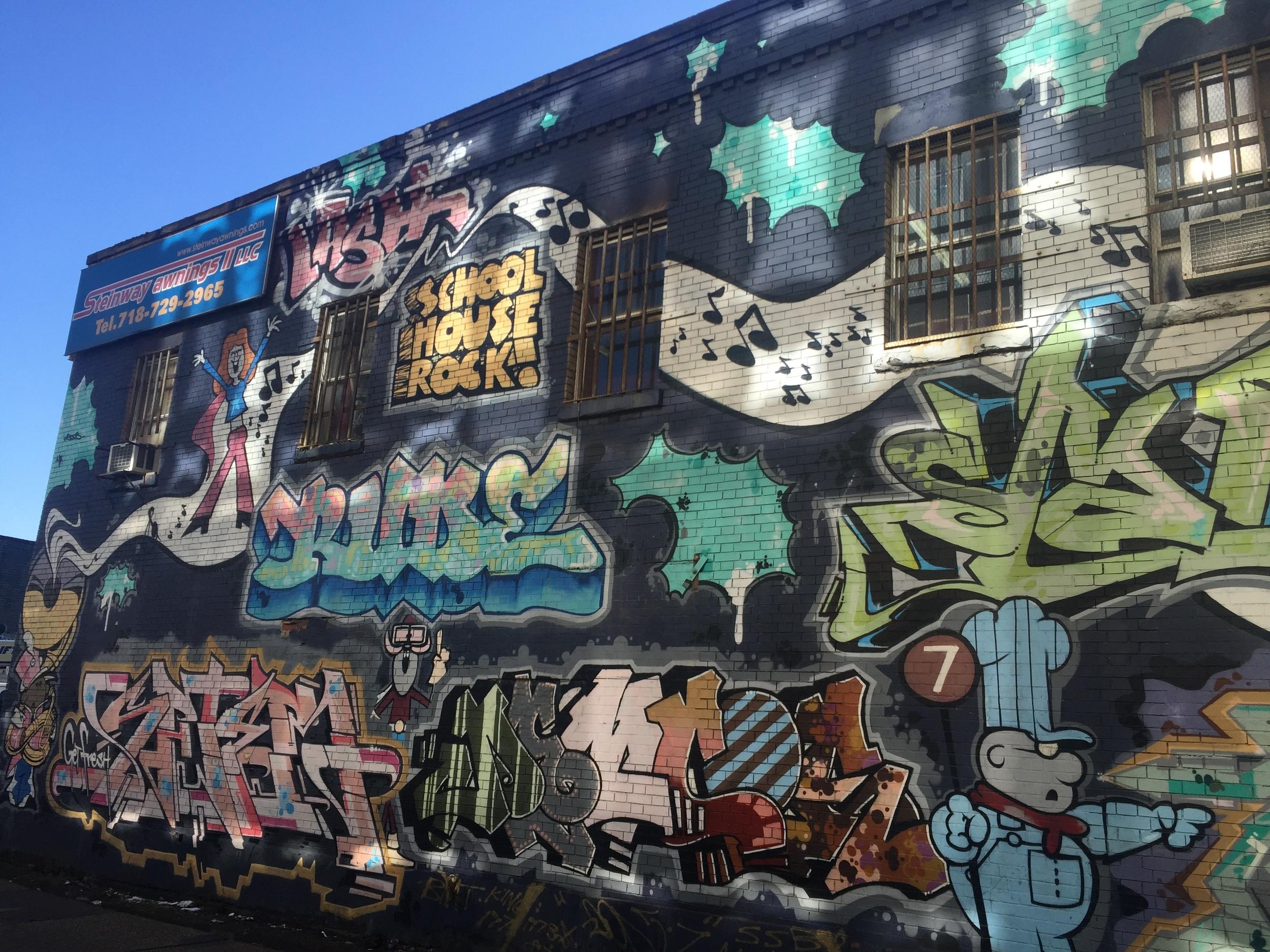 School House Rocks graffiti in Long Island City, Queens.