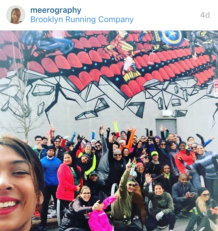 All smiles with  Meera 's sweet group shot in front of the Williamsburg Cinemas superhero street art.