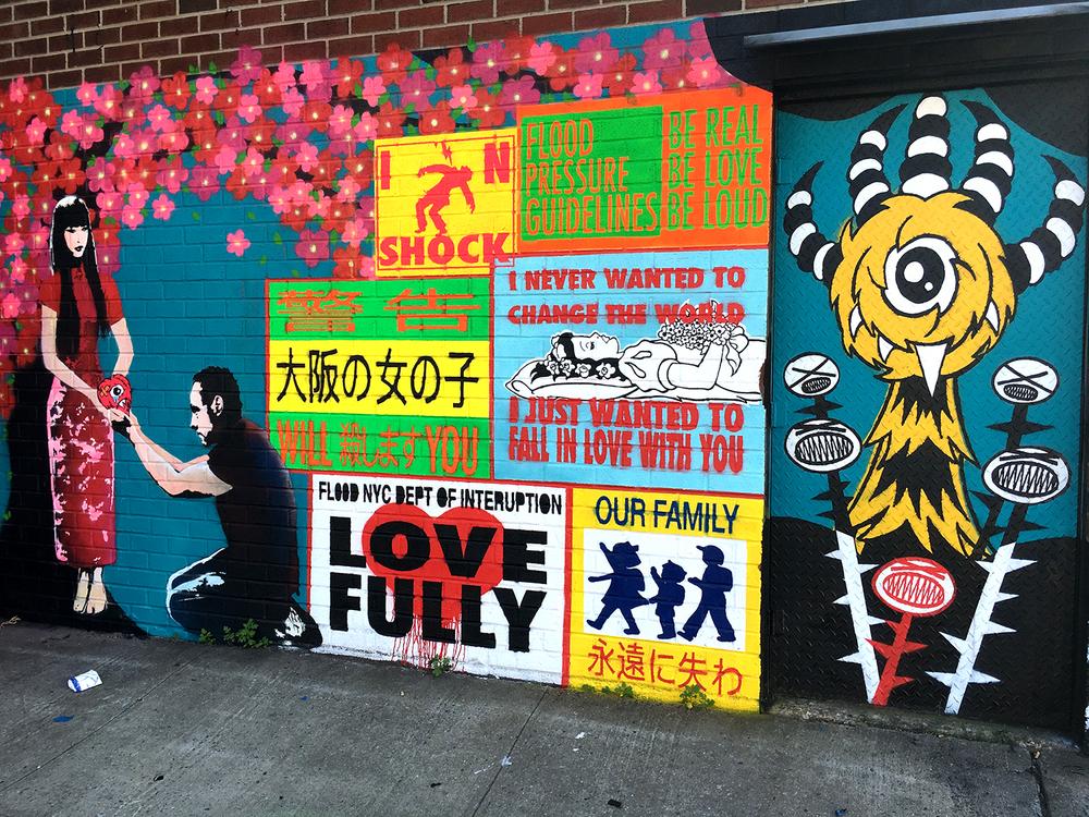 New  FL00D mural  in Gowanus, Brooklyn.