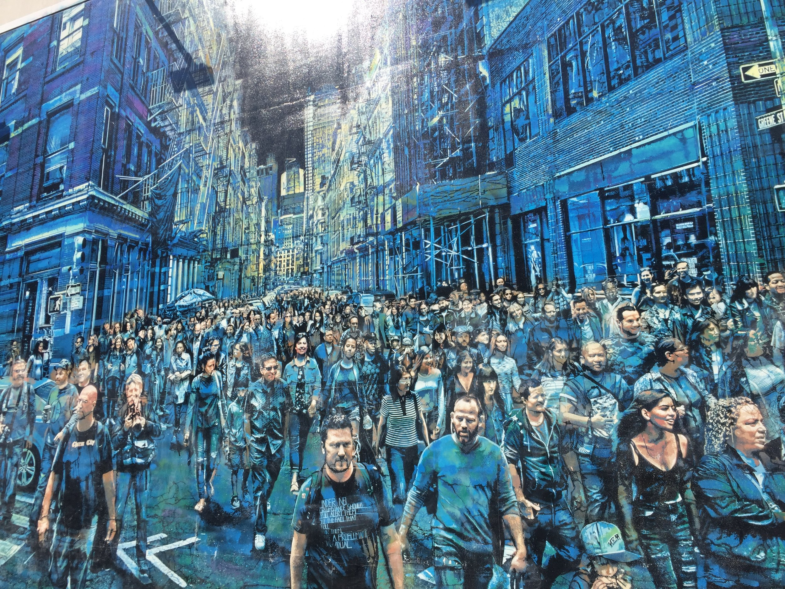 The amazing, life-like crowd scene on Bowery captures characters from the artist Logan Hicks' 10 years in NYC.