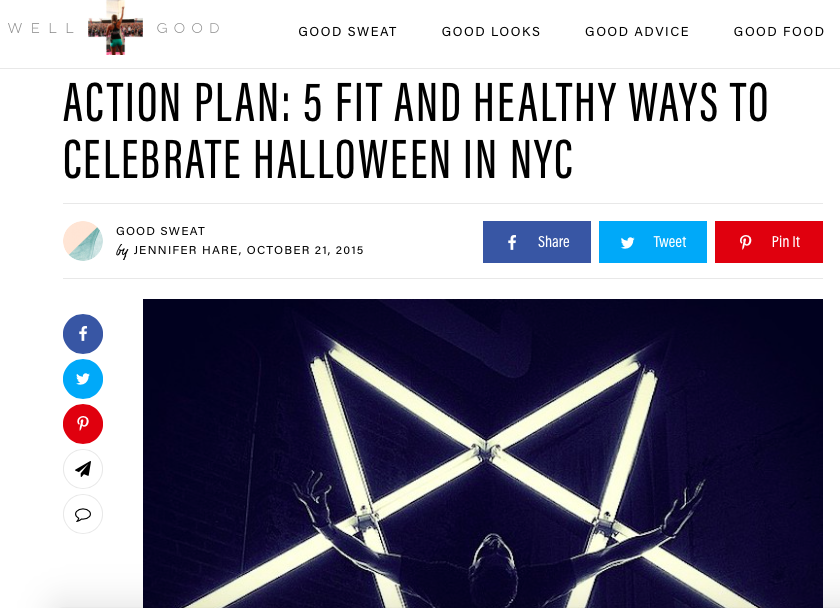 Runstreet Saints + Sinners Halloween Run featured in  Well + Good NYC .