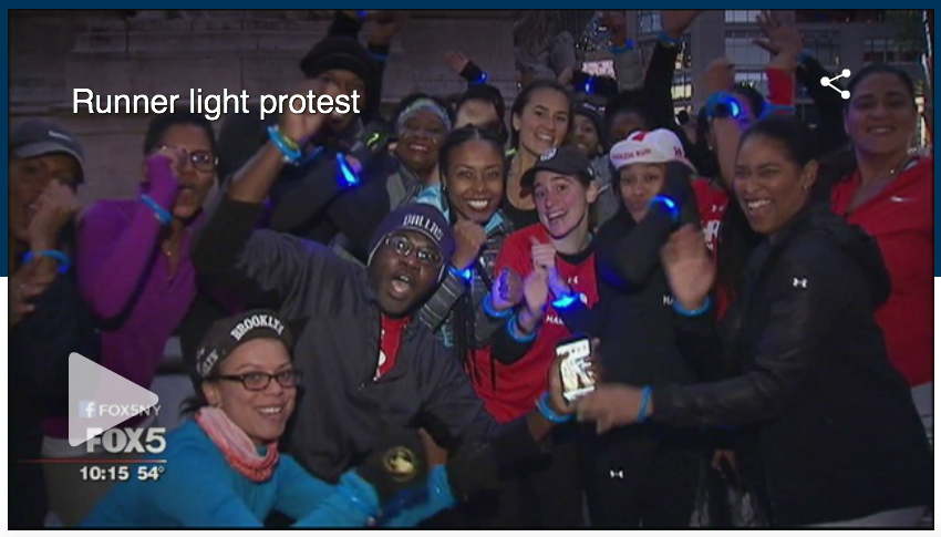 A different kind of protest - runners are speaking out about the need for adequate lighting in the park.