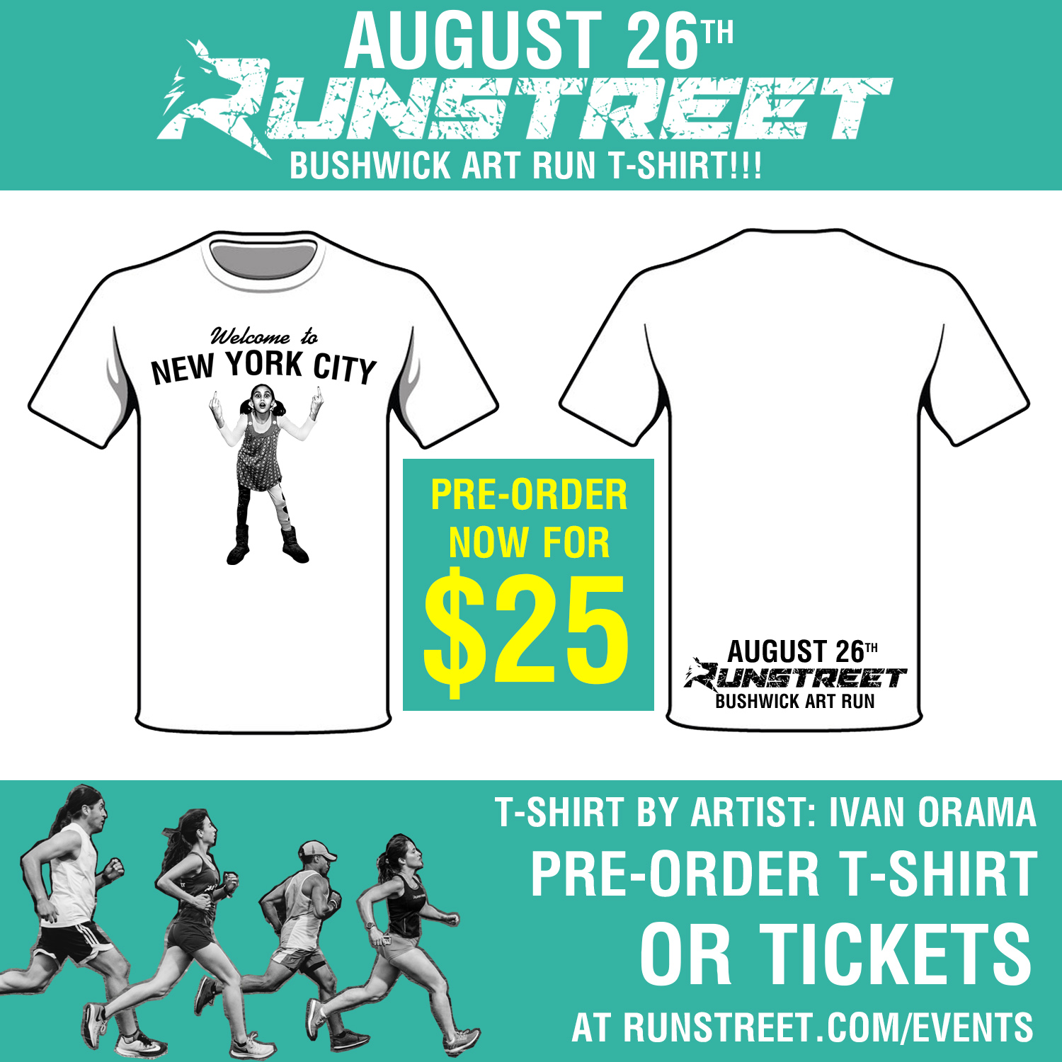 Shirt pre-orders end at midnight EST Sunday, August 20, 2017. Shirts will be available at the event for $30 and sizes are only guaranteed for pre-orders.