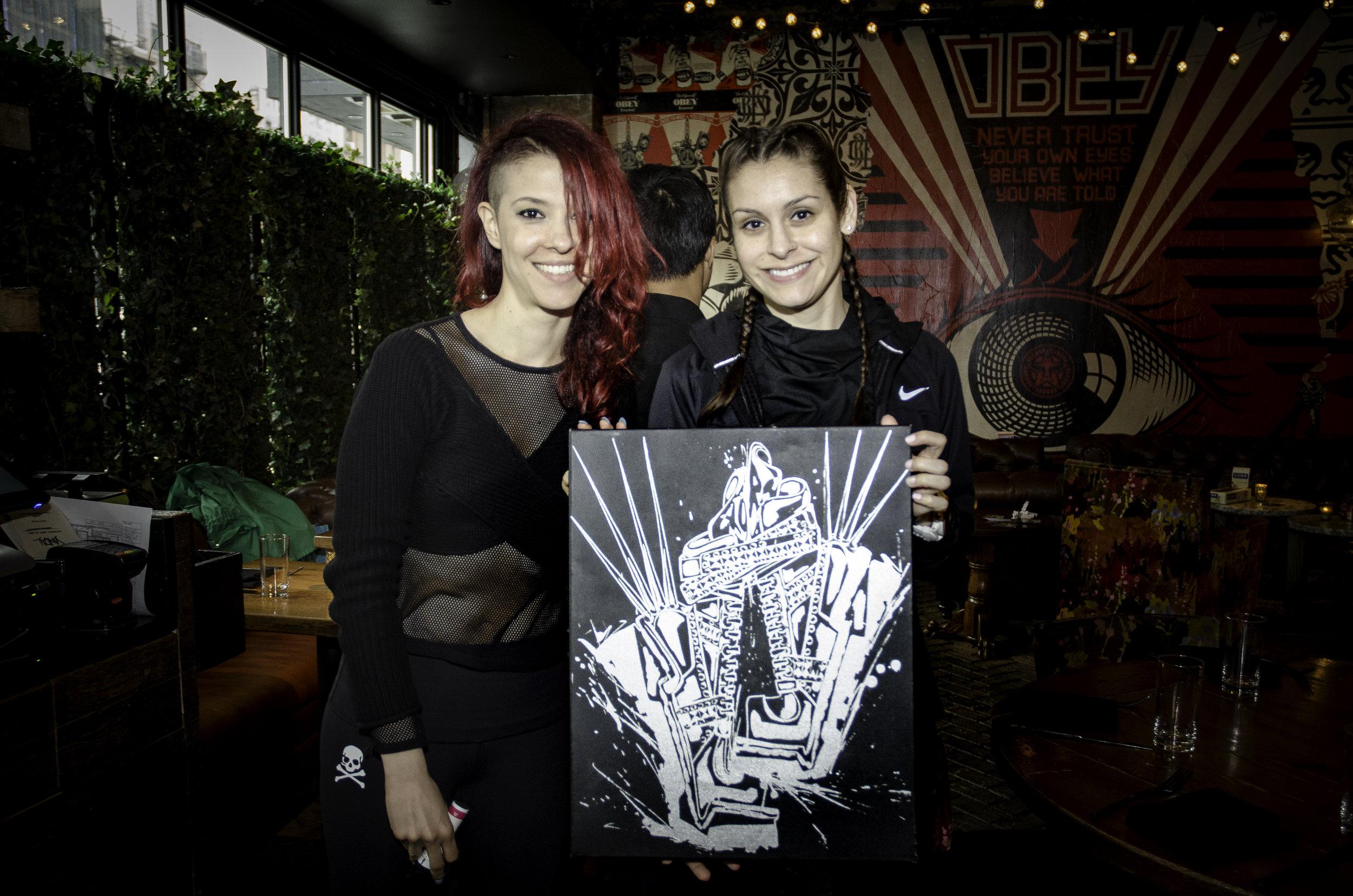 Melissa and artist  Renee XORS  at our Runstreet X Luna Bar Art Run.