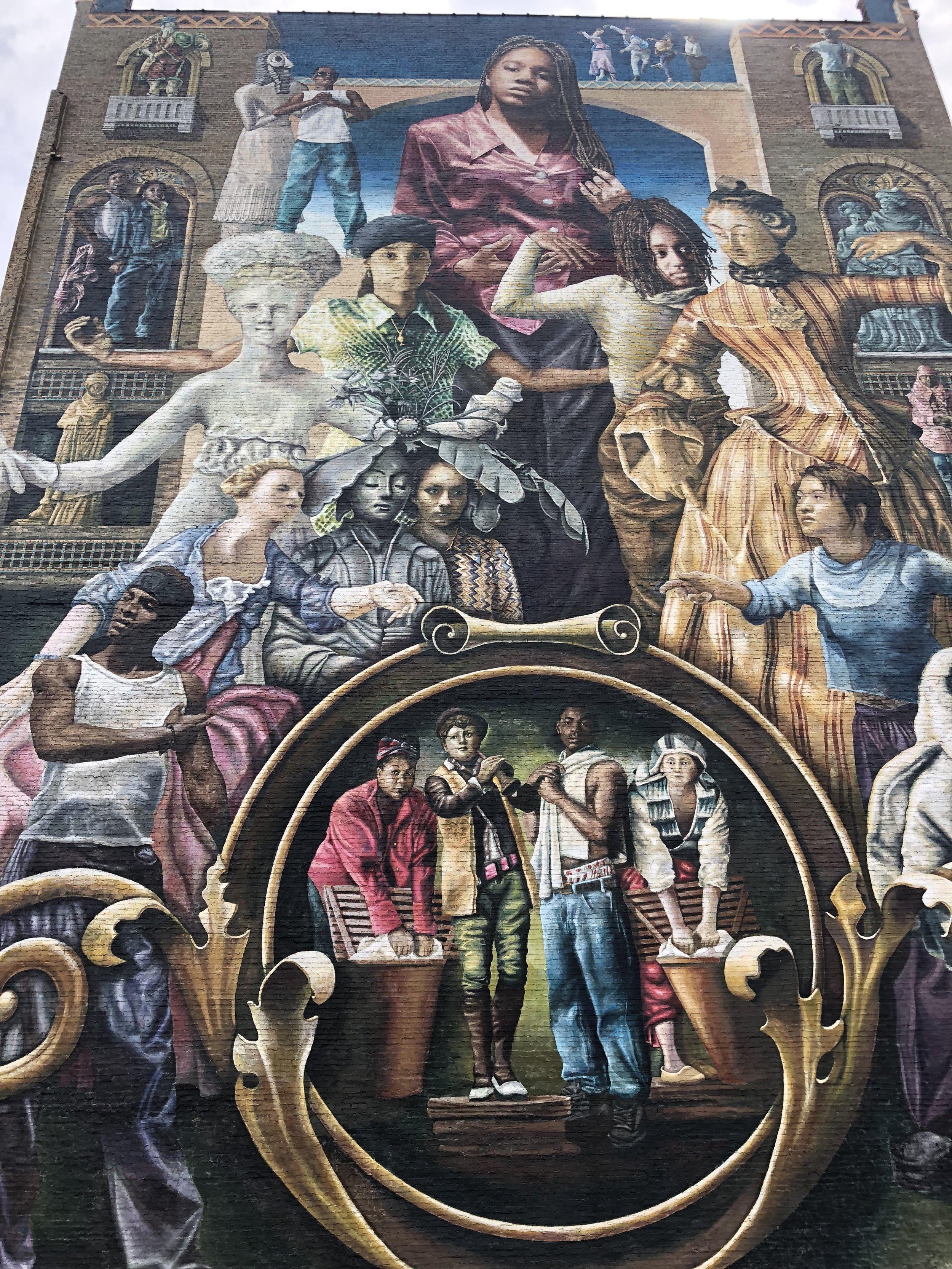 Mural by Meg Saligman at Brandywine Street and North Broad Street in Philadelphia.