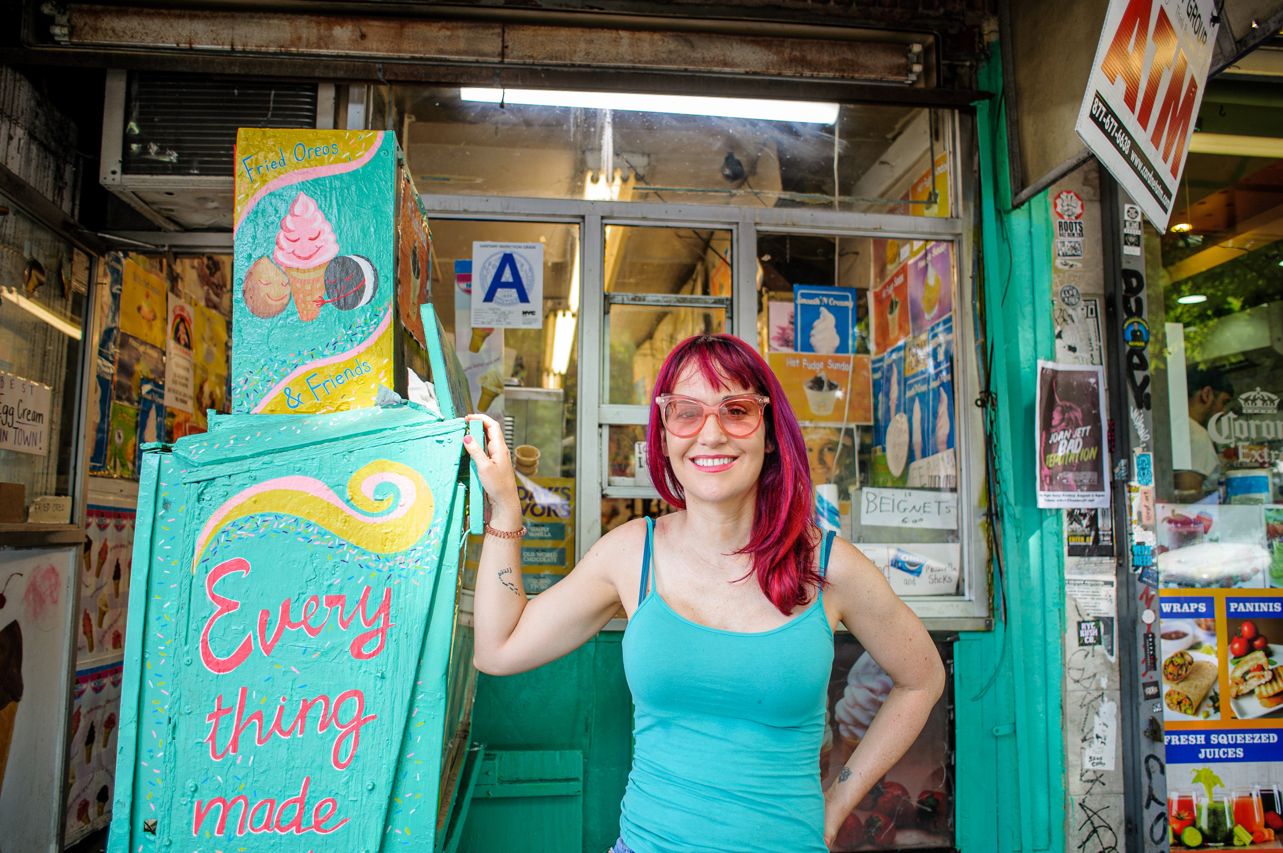 Me outside of Ray's Candy Store in the East Village. (I did not plan to match the colors but it happens;).