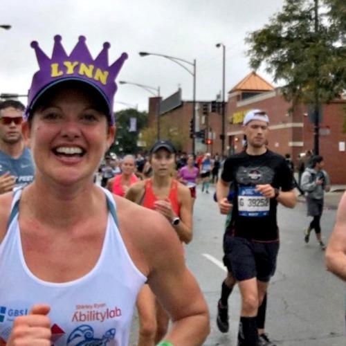My friend Lynn at Mile 22 in Chicago Marathon.