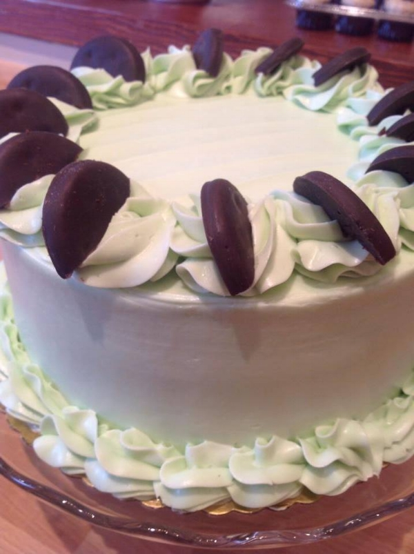 Thin Mint Cake is our March Cake . . .come in for a slice while it's here!