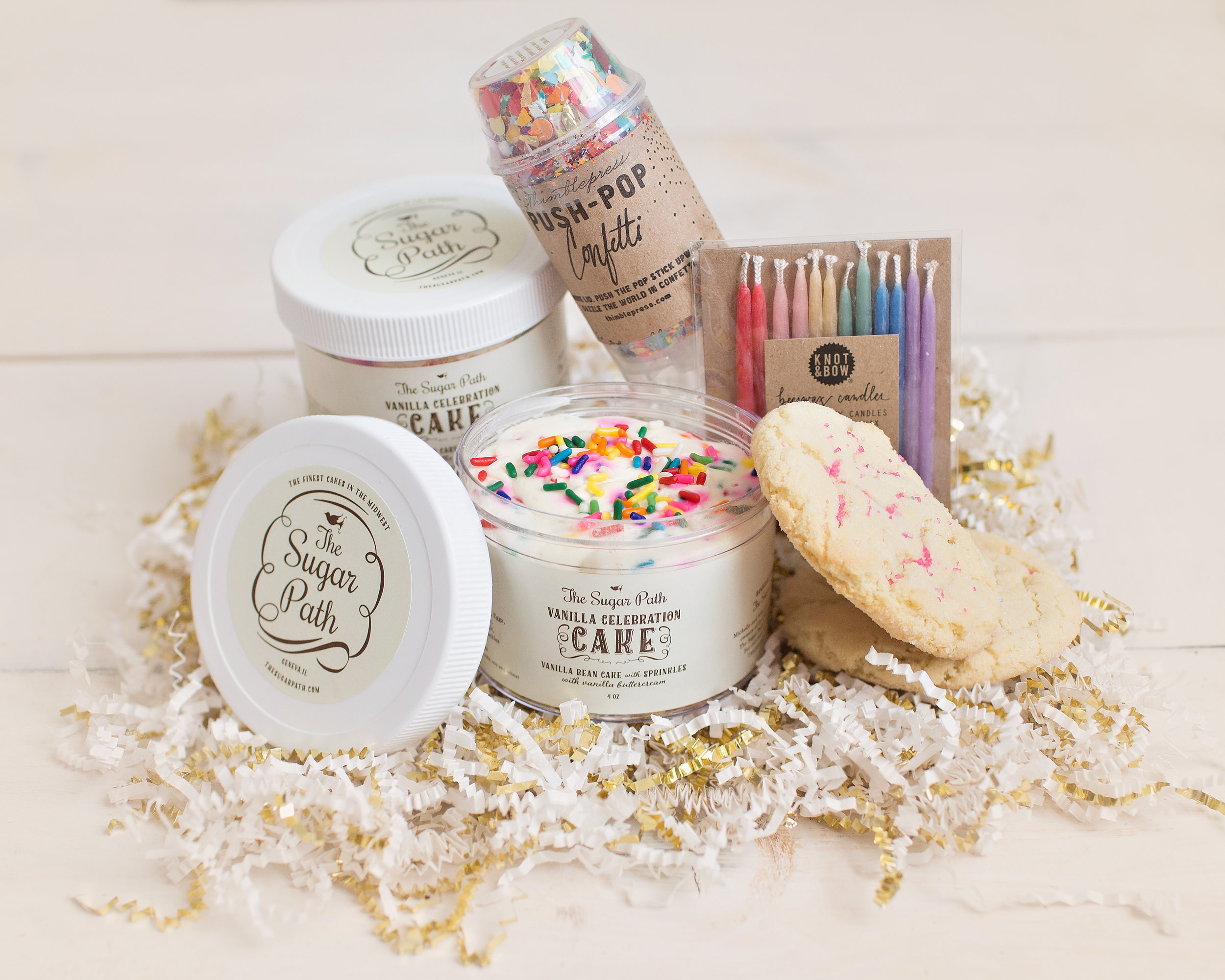 Our Birthday Box is one of our most popular gifts. It includes Confetti Cake Jars, Cookies, Candles and Confetti