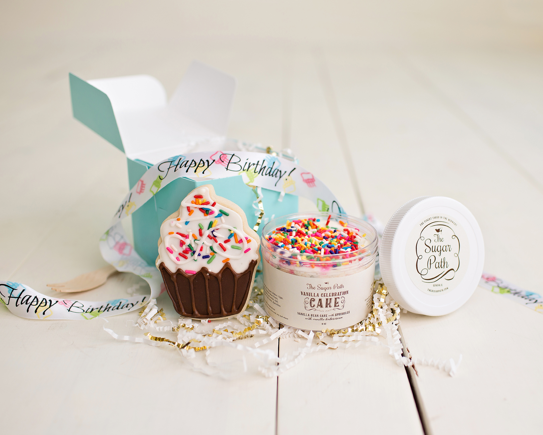 Celebrate a birthday with a Birthday Cube gift! - For shipping or Pick-Up! Birthday Cake Jar and Cupcake Sugar Cookie in a Blue gift box with ribbon!