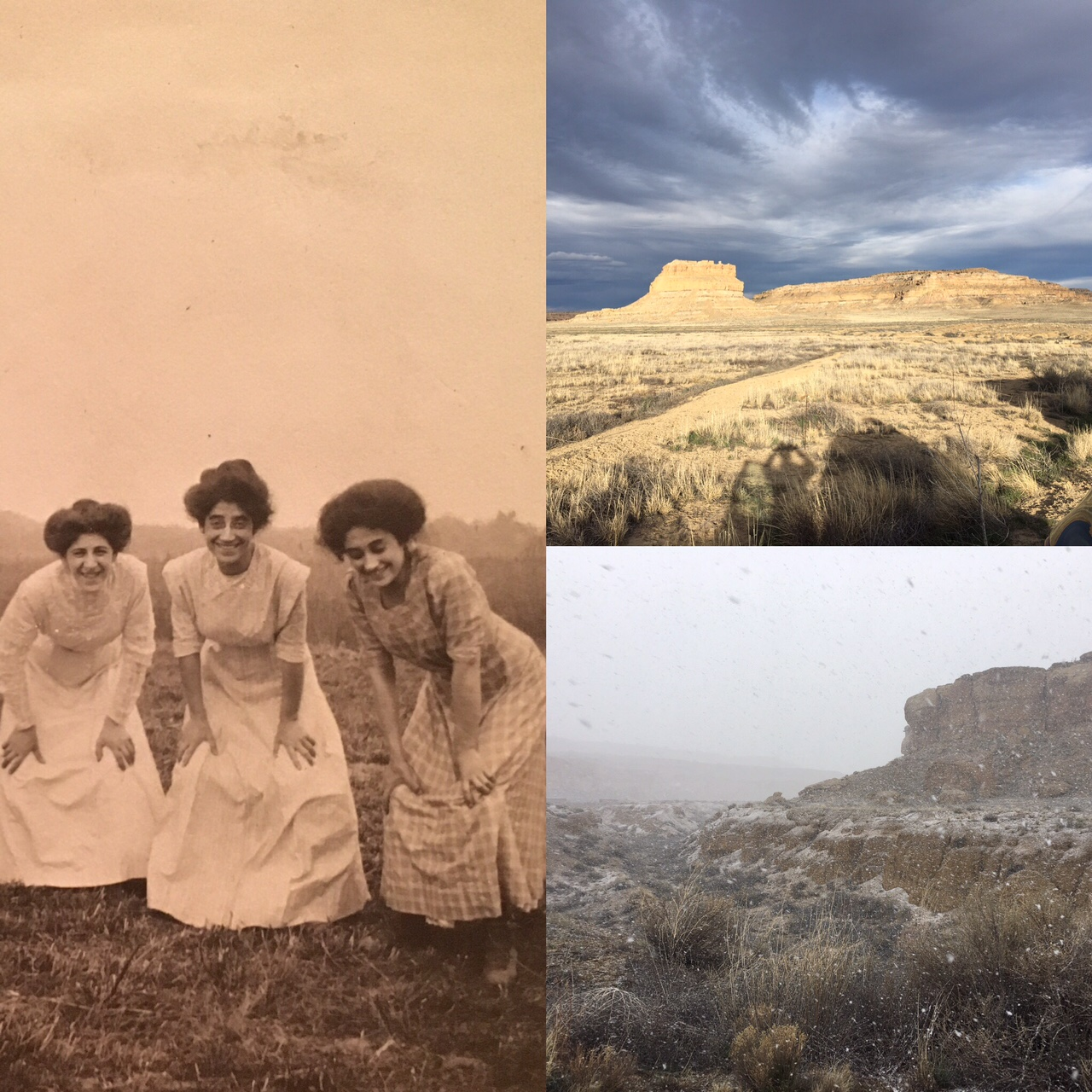 The Steinert girls: Rose, Lucy and Minnie ca 1910. Chaco Canyon at sunset. Chaco in snow.