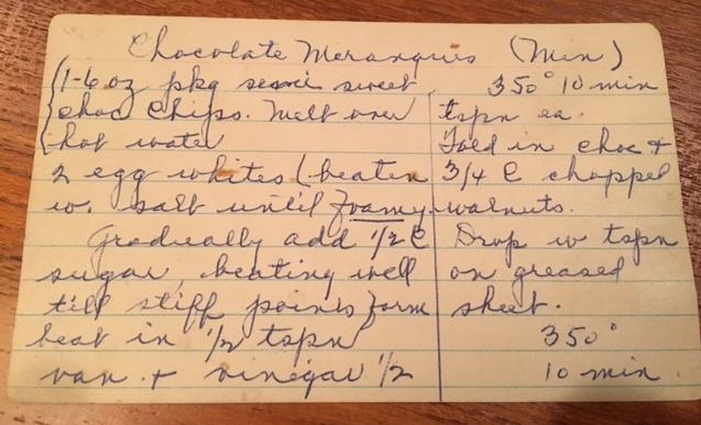 Lucy's copy of Minnie's recipe.