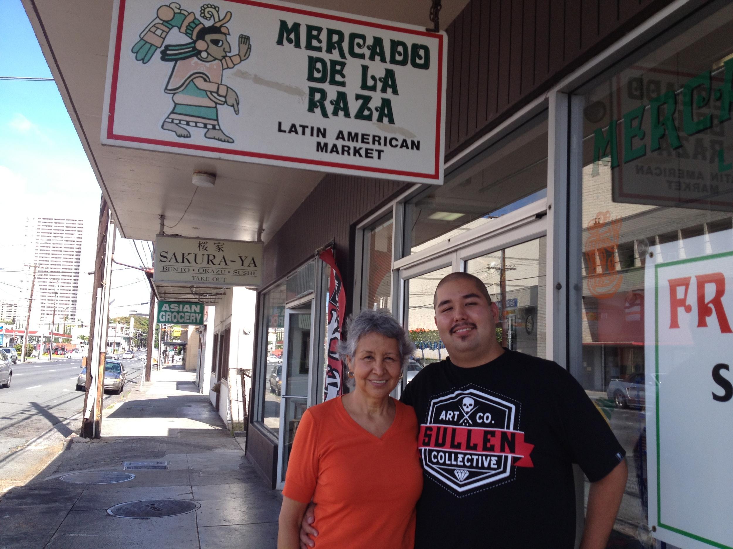 Marta Sanchez Romero (Mexican) and son Reynaldo Minn (Korean/Mexican). Owners, Mercado de la Raza. O'ahu.