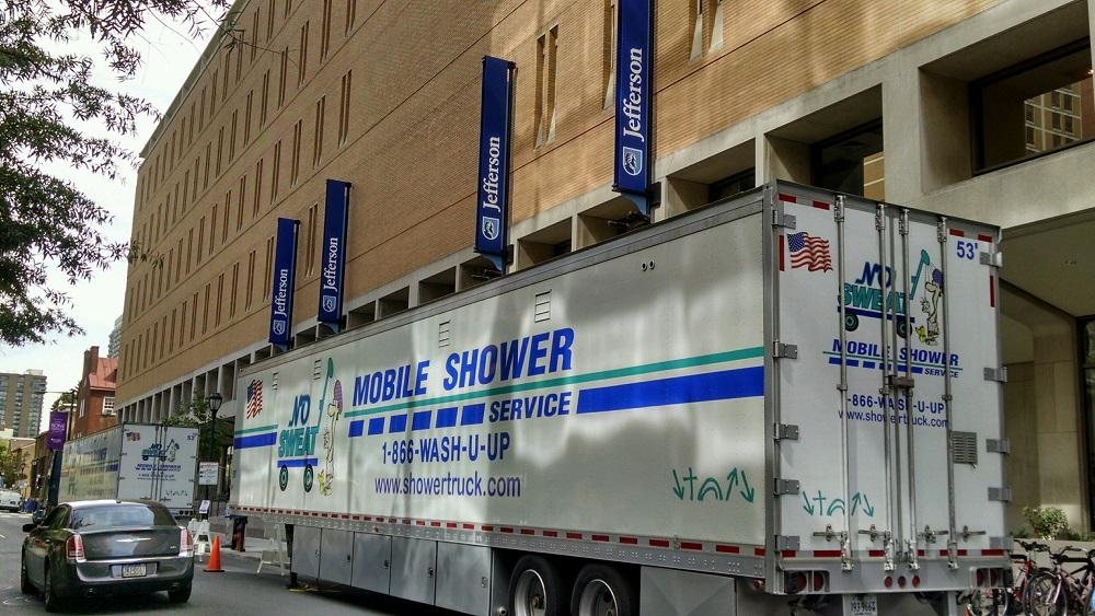 NO SWEAT Mobile Shower Trucks In Philadephia, PA.