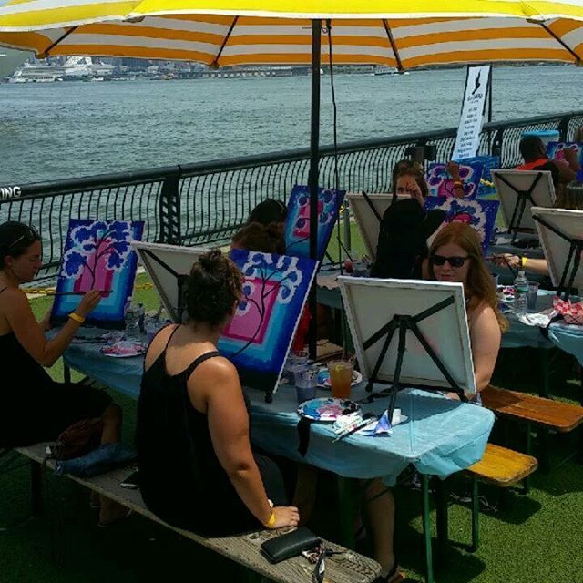 Join us on the waterfront this Sunday @pier13hoboken! $35 per guest plus one complimentary drink! Sign up online BlackbirdGalleryJC.com #pier13 #paintandsip #complimentarydrink #foodtruck #brunch #waterfront #thingstodo #hoboken #jerseycity #create #paint #family #friends #sundayfunday