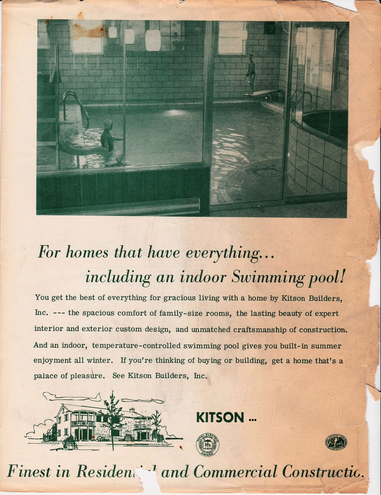 An original Kitson Builders advertisement from the mid-60's