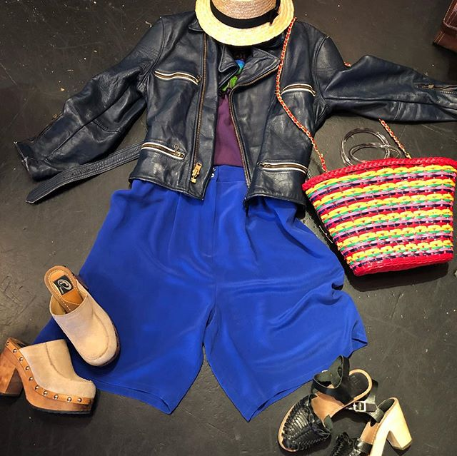 Blue vintage leather jacket medium or oversize RARE $160 Platform clogs size 7/7.5 $50 Black clogs sandal  size 7 $40 Red basket $38 Purple embroidered Mexican cotton top $30 Silk blue shorts waist 30 $30 Canotier hat $30 💙💙💙