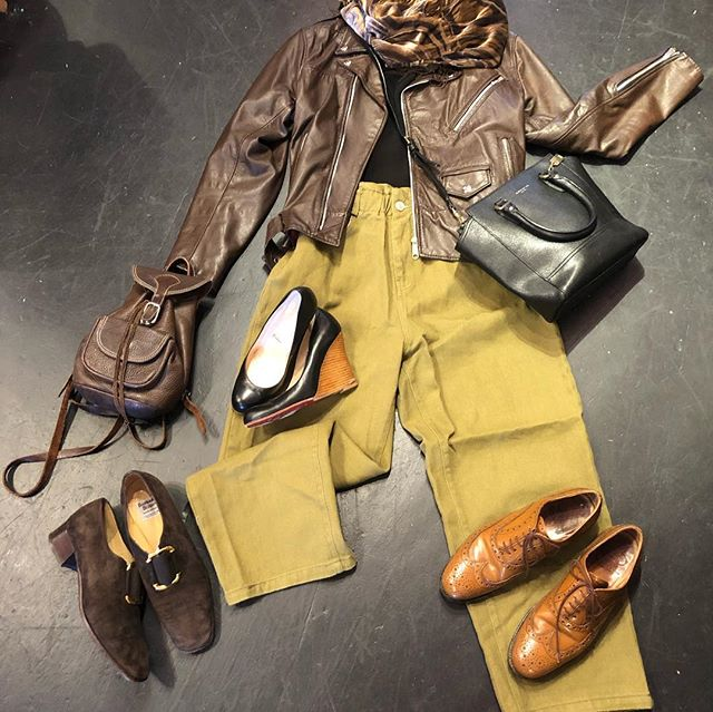 ⭐️🌻⭐️ Oak + Fort pants size 30 $45 Coach messenger & hand bag black $60 Mini leather back pack $25 Church's size 37 $180 (reg.$600 hand crafted) Brown suede loafers size 9.5 $40 made in Italy Louboutin wedges size 7 $170 Brown leather motorcycle jacket small $100 Sheer black turtle top $30 ⭐️🌻⭐️
