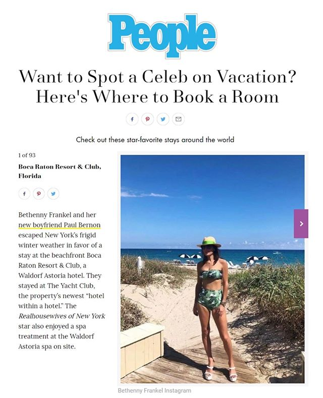Looks like @bethennyfrankel knows how to escape the frigid cold in style @bocaresort @people 🌴 🏖
