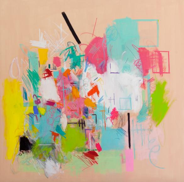 "Title: Rose Tension Size: 72"" X 72"" Medium: Oil, house paint, pastel, charcoal, pencil, chalk on canvas"