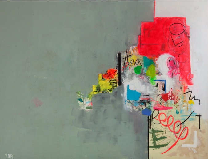 """Title:  Two Sides Fighting  Size: 72"""" X 96"""" Medium: Oil, acrylic, spray paint, house paint, charcoal, pastel, pencil, chalk on canvas stretched wood panel"""