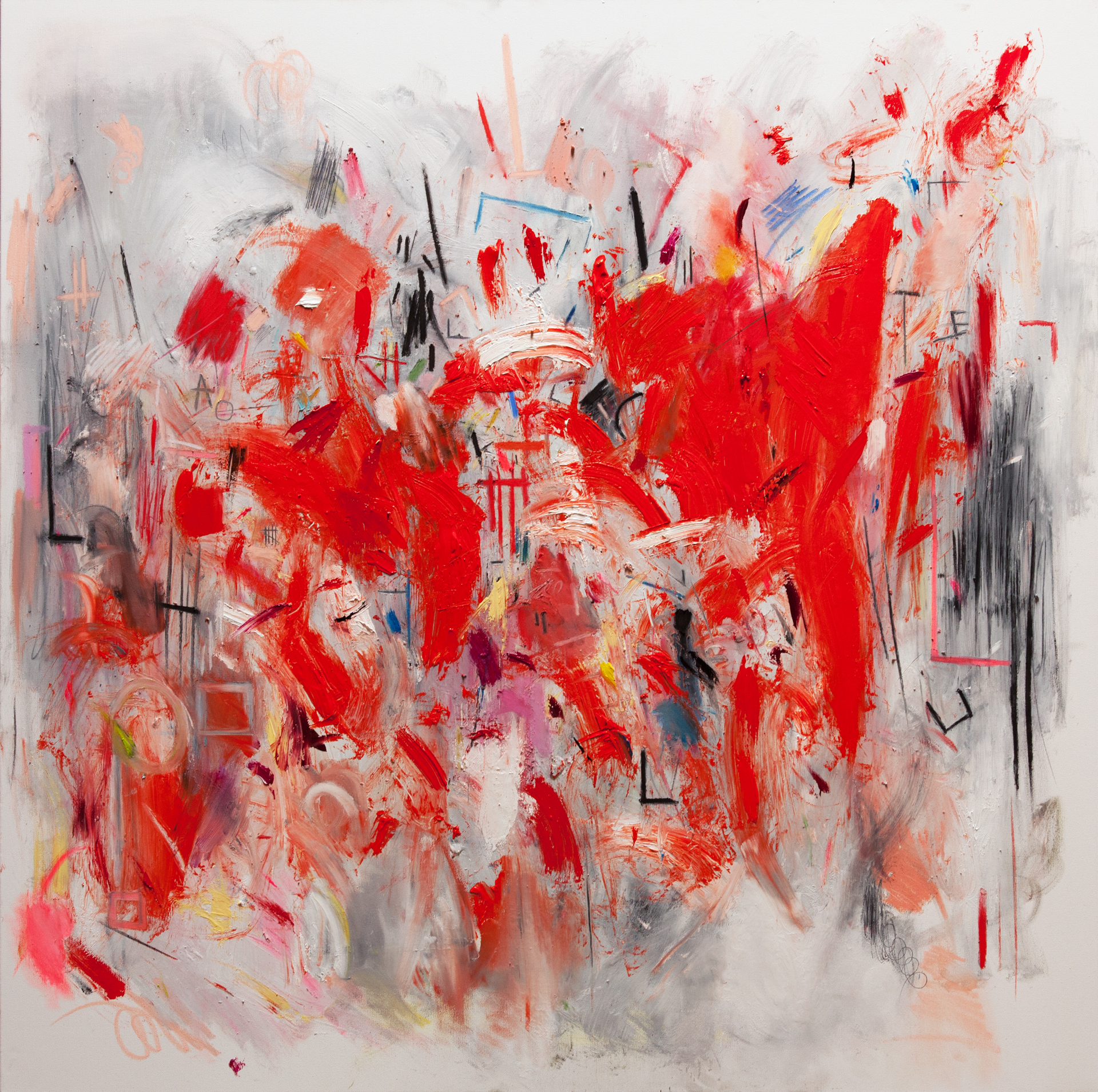 """Title: Red Tension (Crime of the Day) Size: 48"""" X 48"""" Medium: Oil, house paint, pastel, charcoal, pencil, chalk on canvas"""