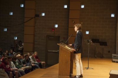 Spring 2017 Mayor Dewey Wilbanks '17 at a Town Meeting in March