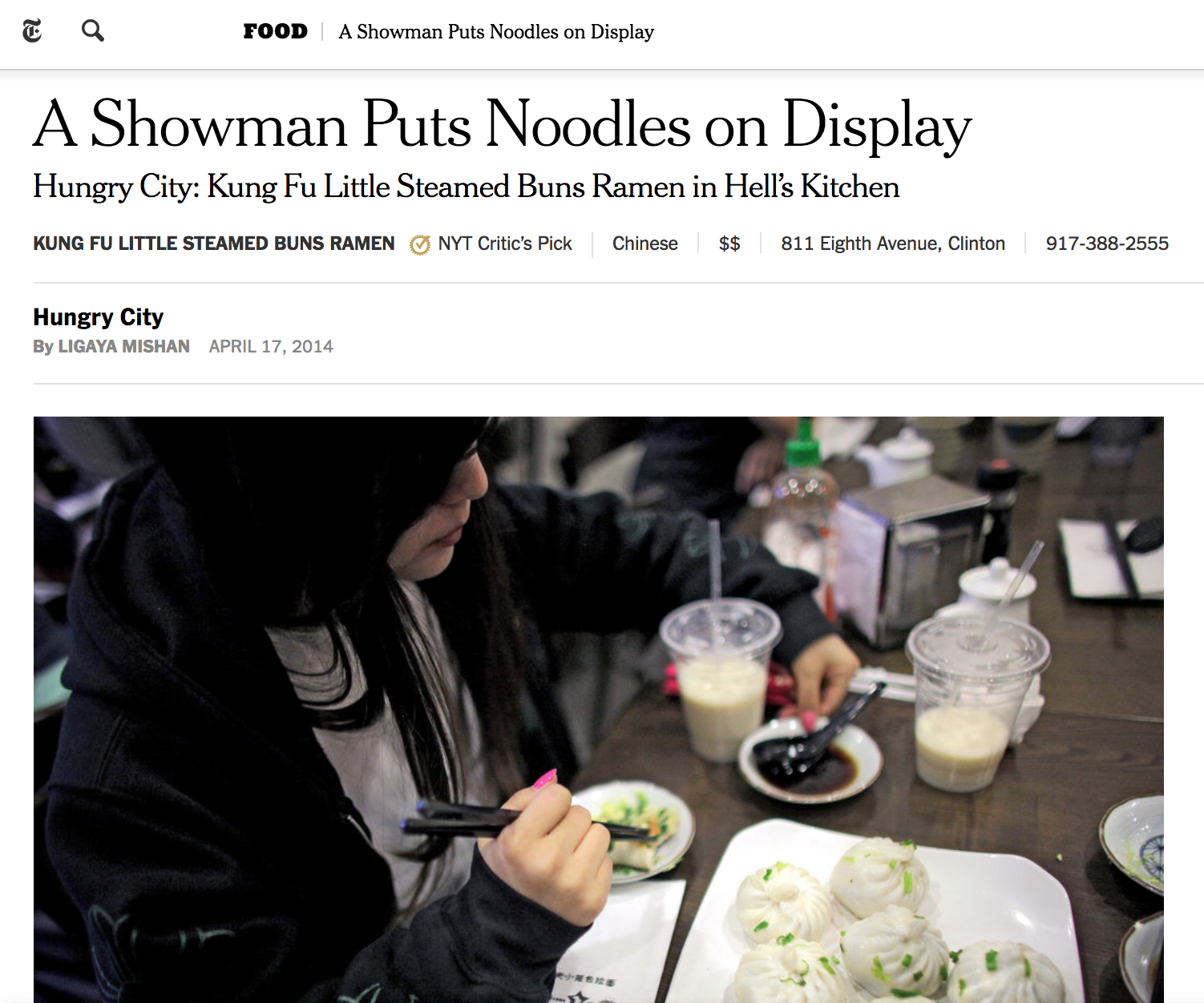 Hungry City: Kung Fu Little Steamed Buns Ramen in Hell's Kitchen <<The New York Times>>