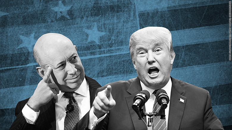 Goldman Sachs CEO Lloyd Blankfein and President Donald Trump