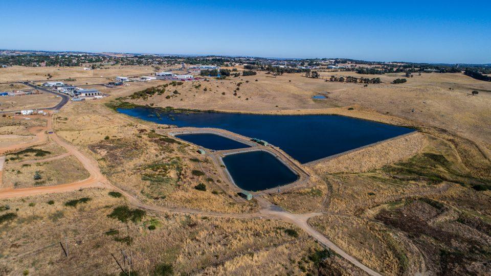 Holding dam and batch ponds