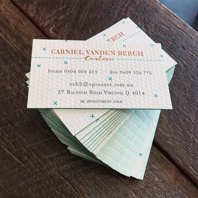 We recently designed and printed these amazing cards for Carniel Vanden Bergh Couture. Sue and Ingrid wanted a design and printing finish that reflected the quality of their garments. We achieved this using a mixture of blind, ink and foil impression on the cards all finished with a lovely teal edge and printed on @craneandco Lettra Pearl White 600gsm 100% cotton rag.  #businesscards #foil #letterpress #edgepainting