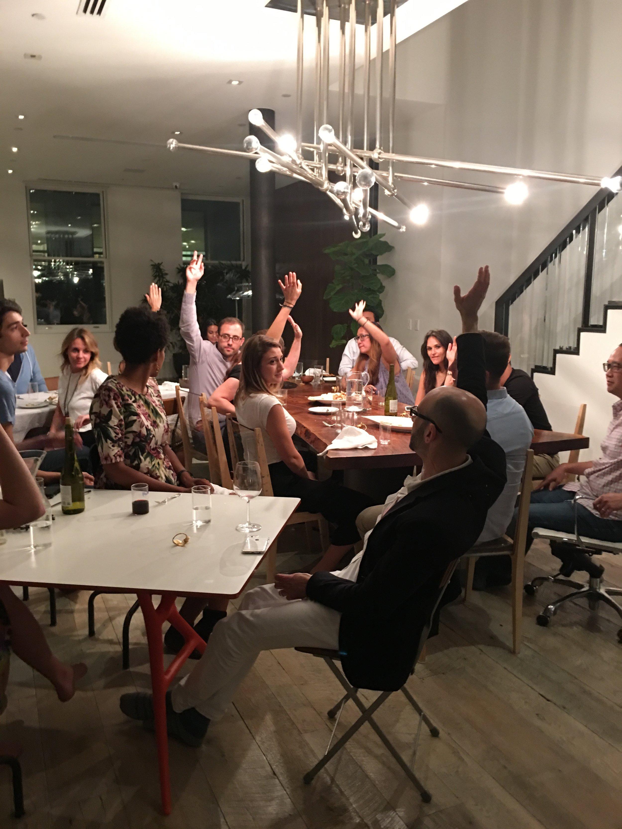 Team Death raises their hands.