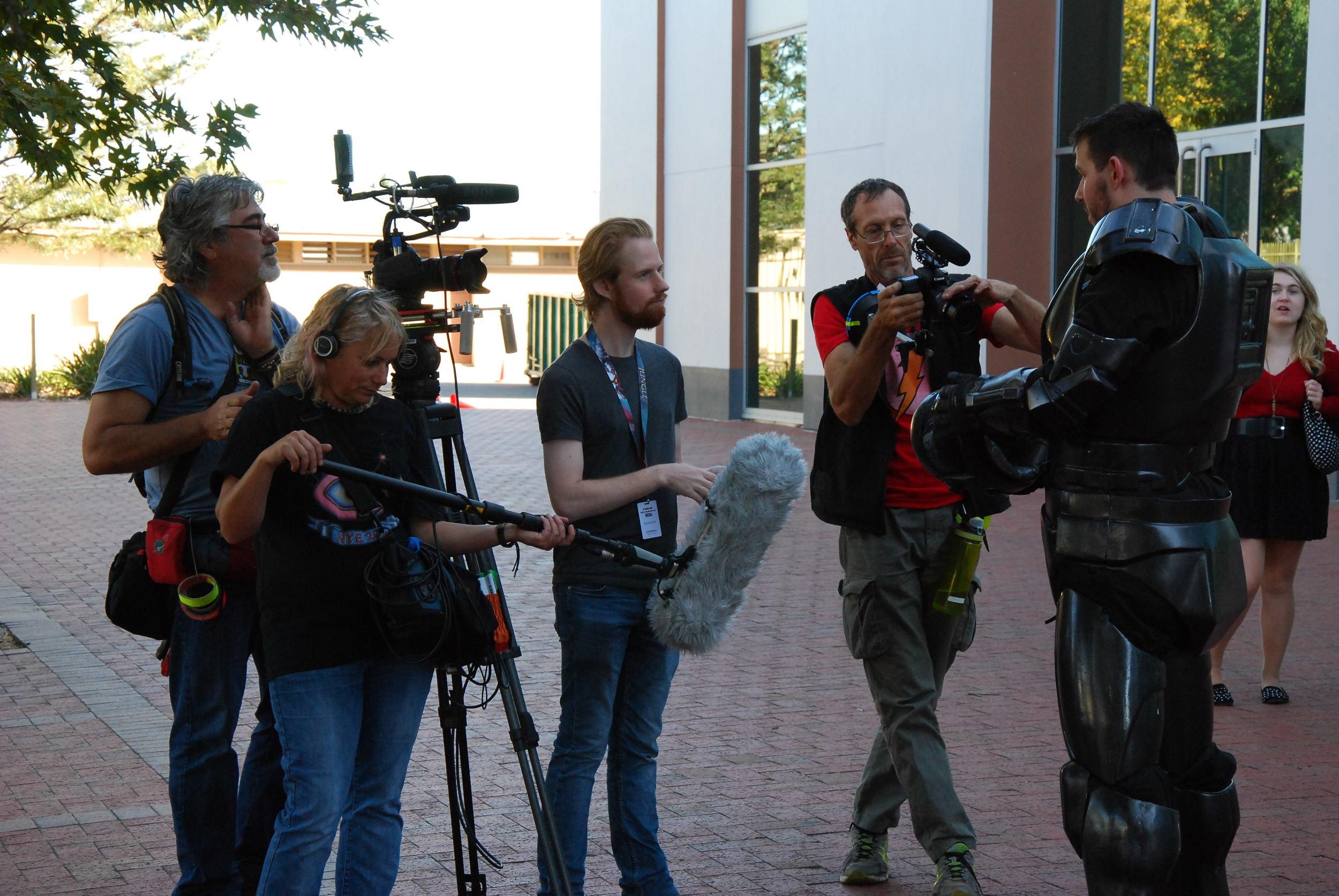 FANDOM - Armoured Cosplay crew L-R DOP Allan Collins acs Sound Kym Haman, Director Sam Hardy, 2nd Camera Frank Hruby.