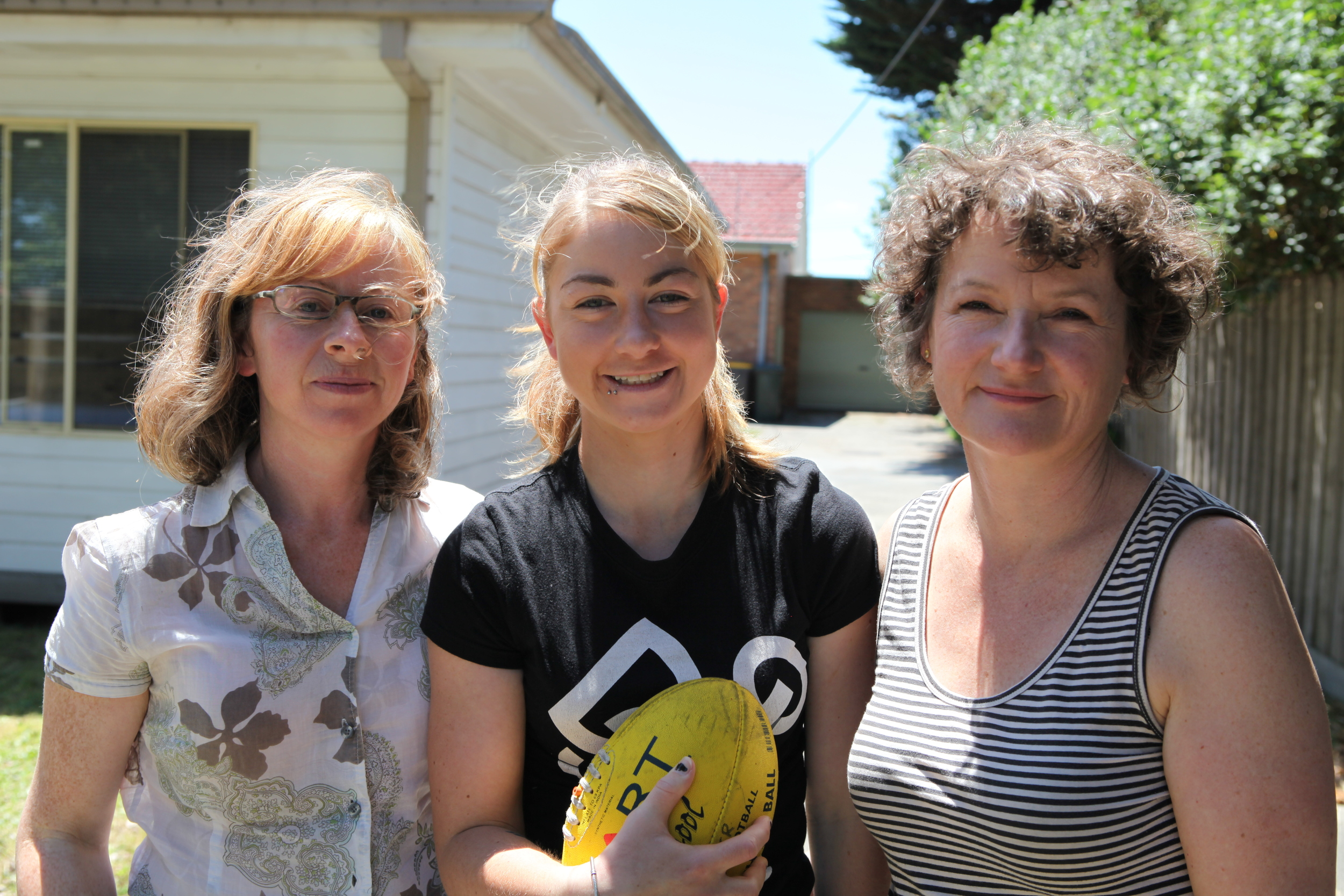Even Girls Play Footy - Producer Carmel Mcaloon, Penny Cula-Reid and Director Kerreen Ely-Harper today.