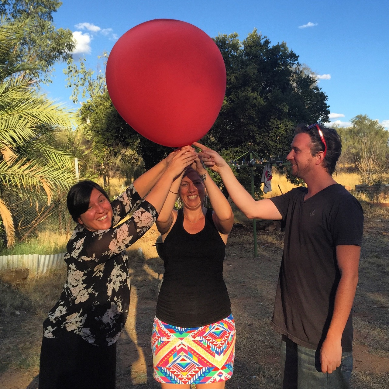 Something Somewhere Film Festival Founders and Co-Directors Anneke Rose, Alex Kelly and Matt Woodham in Alice Springs.