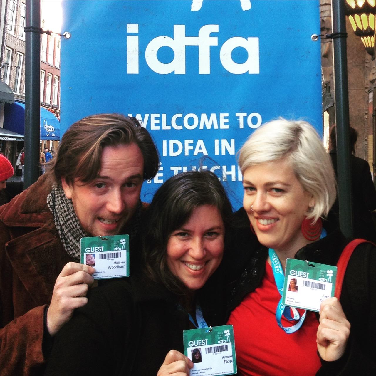 Something Somewhere Film Festival Directors Matthew Woodham, Anneke Rose and Alex Kelly at the International Documentary Film Festival in Amsterdam, 2015.