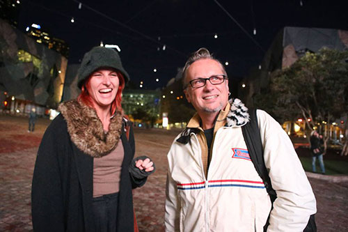 Amanda Gibson and Andrew Garton at the launch of Forged from Fire video installation, Human Rights Arts and Film Festival, Federation Square, 2014 Photo: Kerry Cross