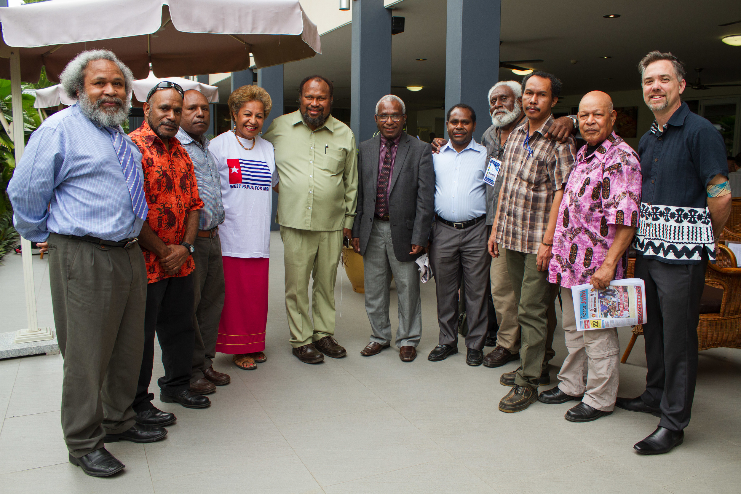 Pray For West Papua - West Papuan leaders and their supporters at the Melanesian Spearhead Group meeting in Honiara, 2015.