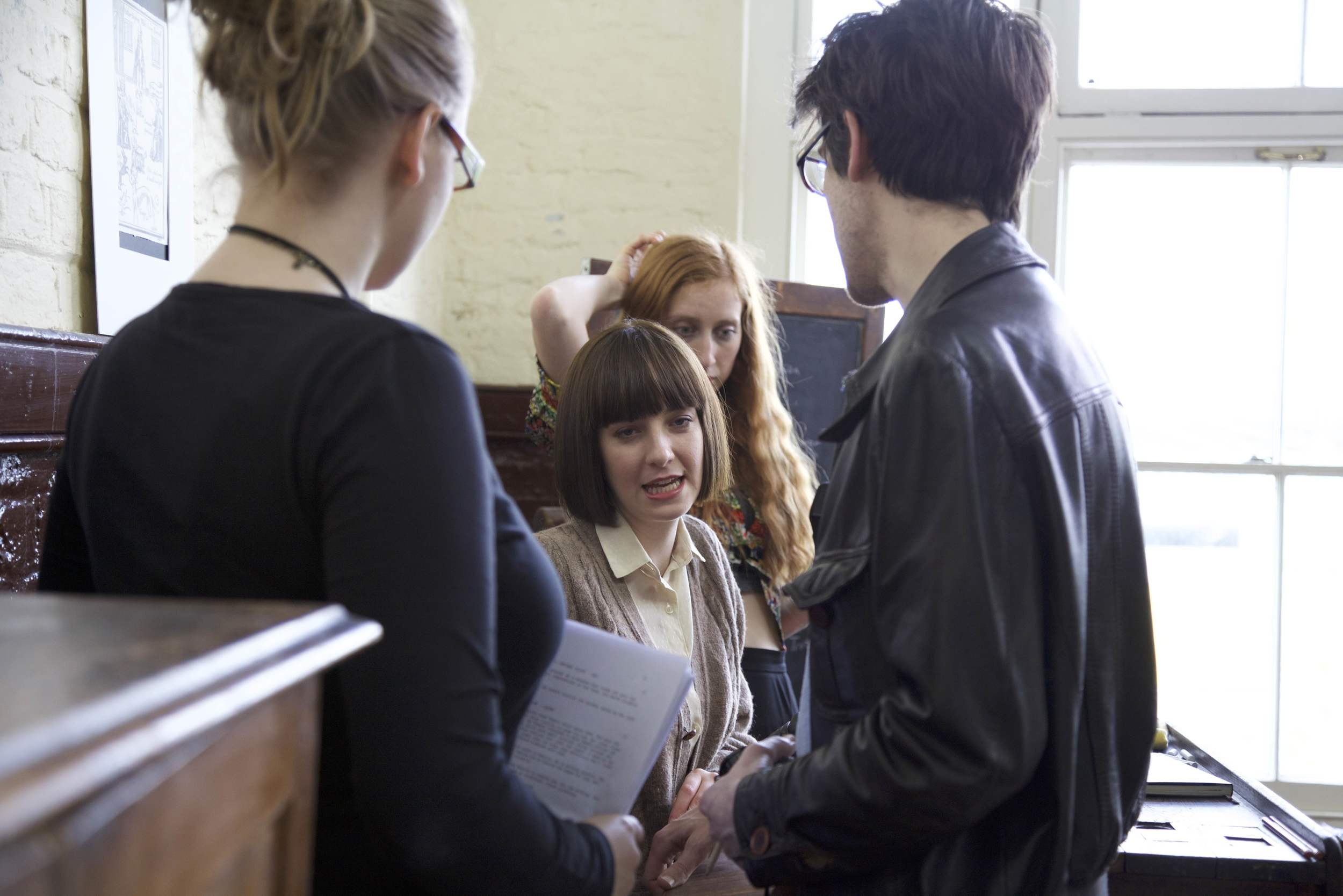 L to R - Eva Sigurdardottir (Producer), Madeleine Sims-Fewer (Writer/Producer/Actress), Caroline Brouard (Production Design), Nathan Hughes-Berry (Director).