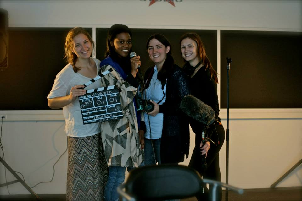 The group photo from L to R: Kelly Rozell (director), Jara Ezo (singer), Kelsey Price (director of photography), Samantha Hearn (producer).