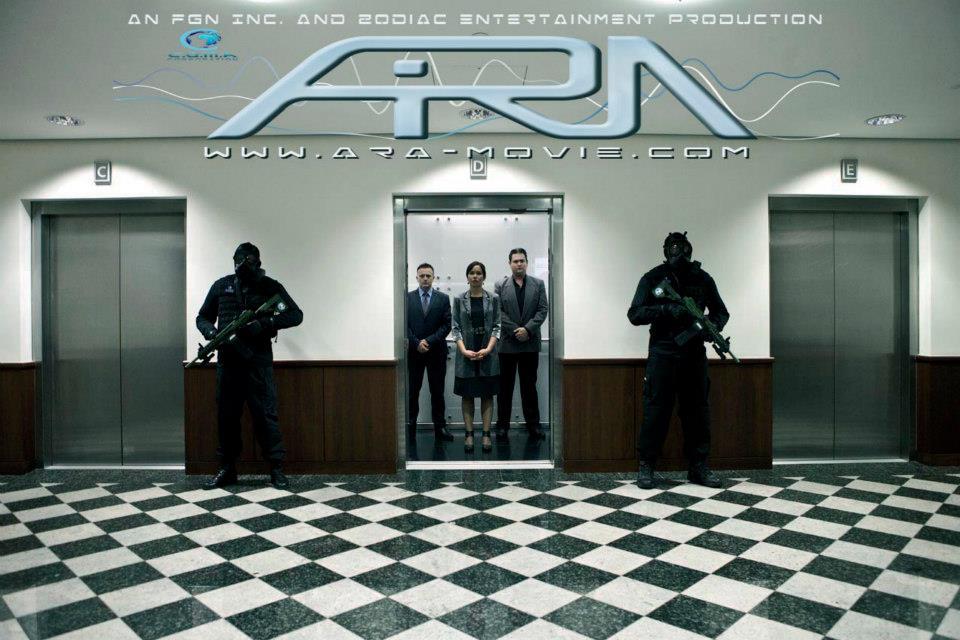 ARA Production Still: C.O.M.A Corporation – Elevator – David Capstick(Mr.Brown), Alison Titulaer(Selena), Tonci Pivac(Mr. Wright)   Photo Credit: Ida Larsson