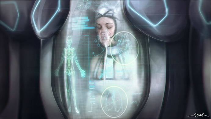 Concept Art by Jason Kong for ARA – C.O.M.A Corporation Cryogenic Pods with Test Subjects