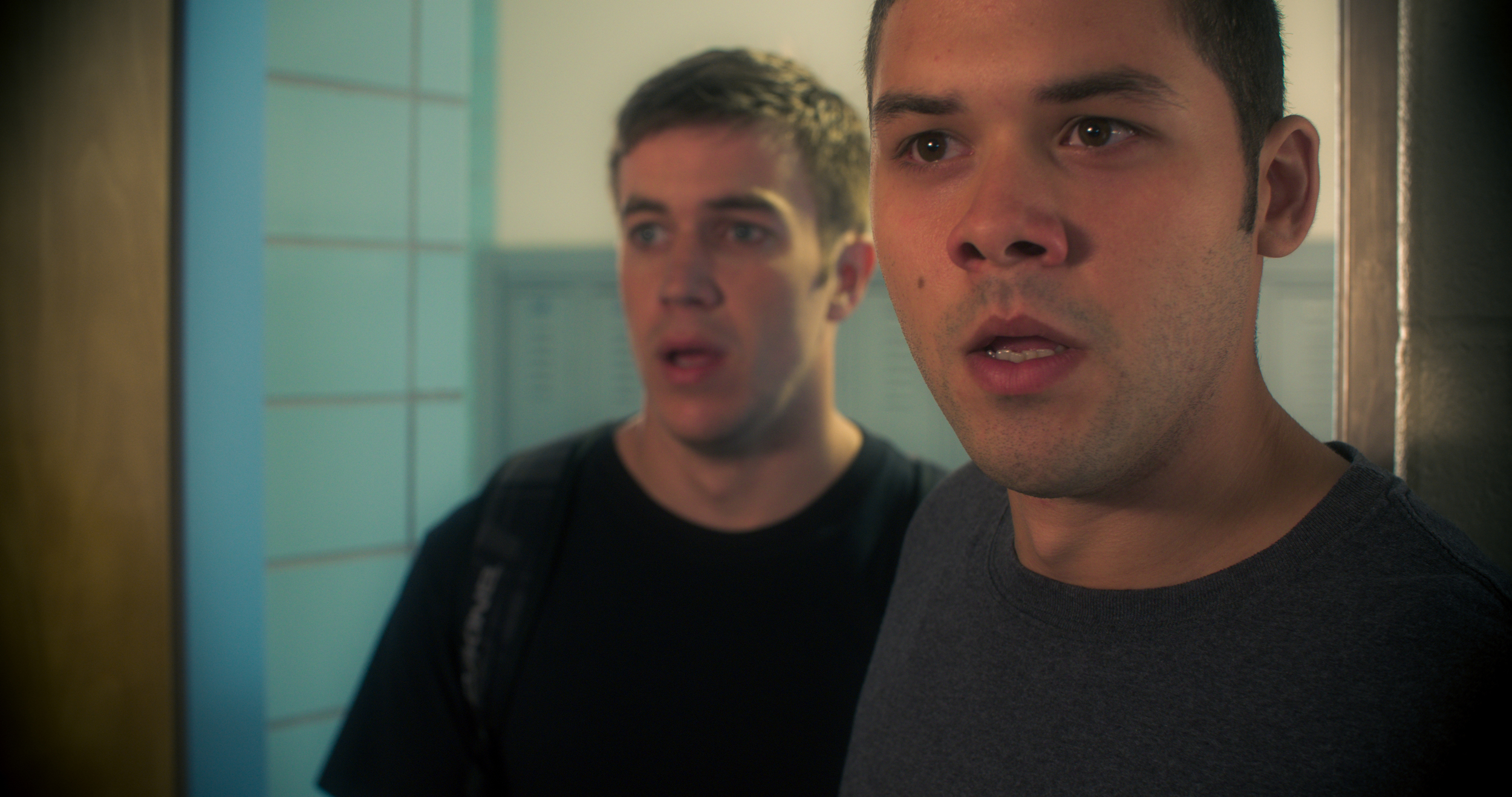 Tim (on the right played by Andrew Casanova) watches the World Trade Center collapse on 9/11.  Ben (on the left played by Tyler McElroy), realizes that Tim's father was still inside.  The two best friends both vow to enlist and fight in the War on Terror.
