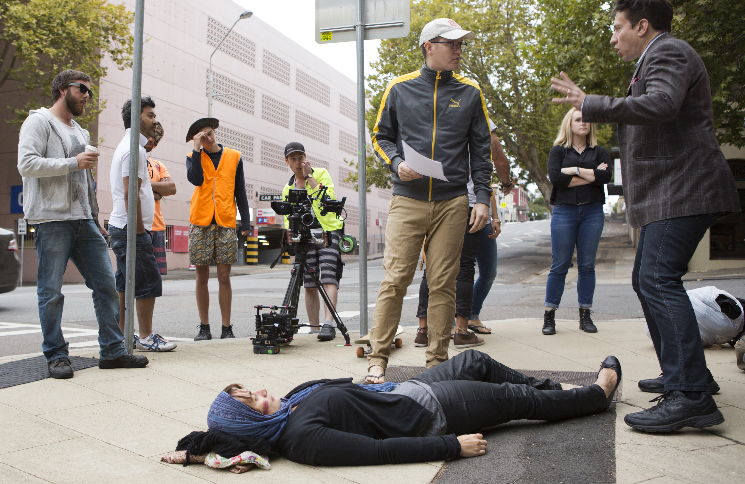 POP-UP 1: Shooting the central moment of the film on location in Newcastle, NSW. This shot was taken moments before we were threatened with a fine for shooting without a permit, forcing us to abandon the scene. Luckily we scraped together enough footage. (Photo by Garrett Eckerson)
