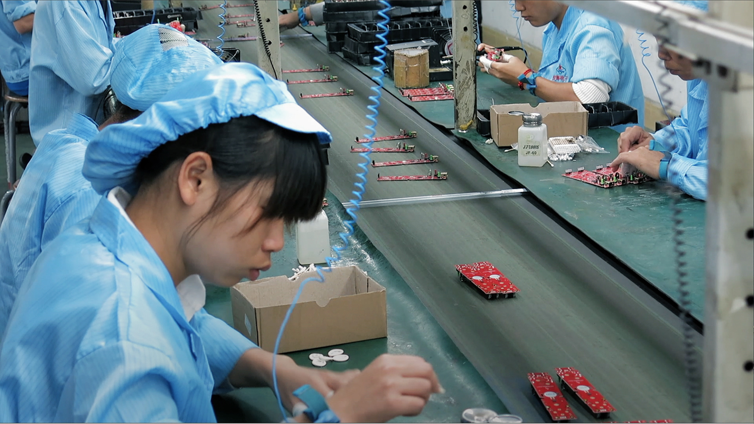 Undercover footage of Chinese workers making our electronics. They often work 12 hours a day, 7 days a week with few breaks and strict oversight of every move they make.