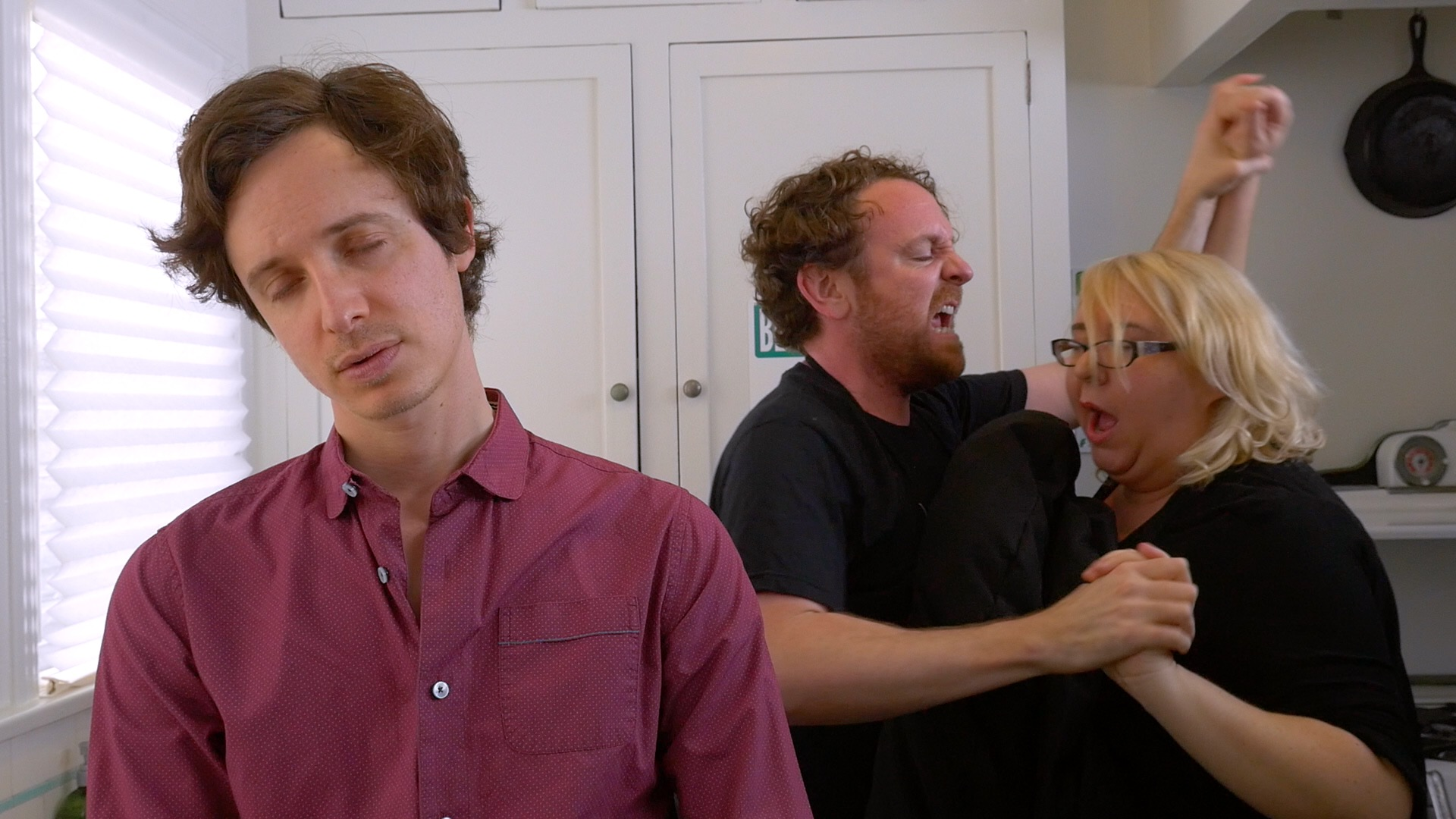 Last Will and Testicle Season 2 - Cancer survivor (Byron Lane) harassed by Lump of Testicular Cancer (Drew Droege) and Lump of Ovarian Cancer (Jaime Moyer).