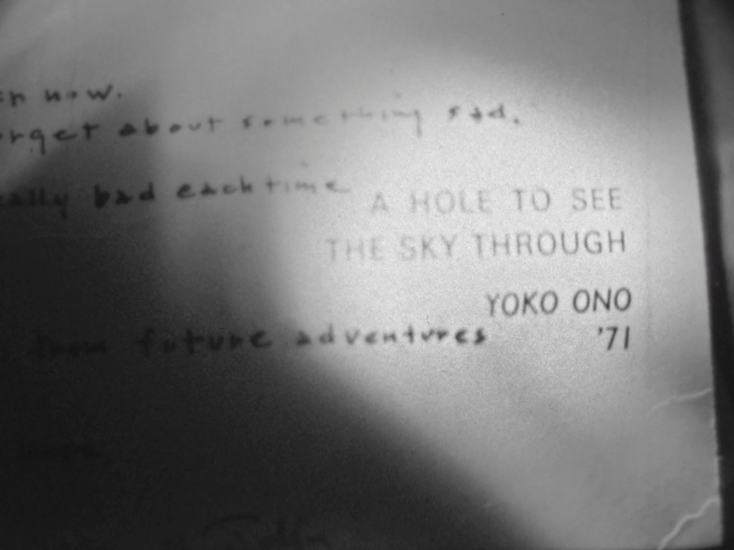 """Free Fall with John and Yoko - After sustaining his injury, Joseph received a hand written card from Yoko and John. It was titled """"A Hole to See the Sky Through"""". A hole was punched out from the center of the card."""