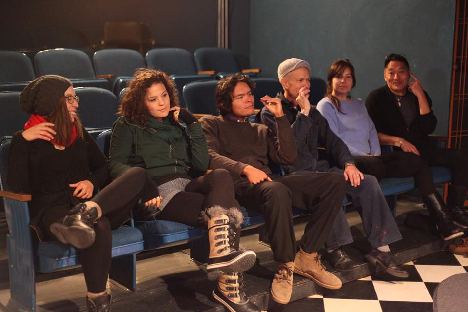 LONGSHOTSVILLE - Cast with Bruce McIntosh (Metta Theatre Founder and Director)about to get on stage. (L to R) Jacquelyn Cordova, Ashleigh Grycner, Michael Bozzuto, Bruce McIntosh, Janelle Cordova and William Hall.
