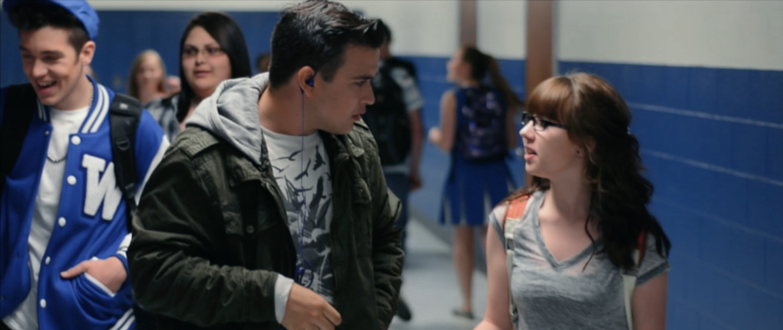 Eli Johnson (Nick Earl) and long time best friend Mackenzie Dover (Dani Matelske) in the halls of William Moore High in  Sincerely, Me .