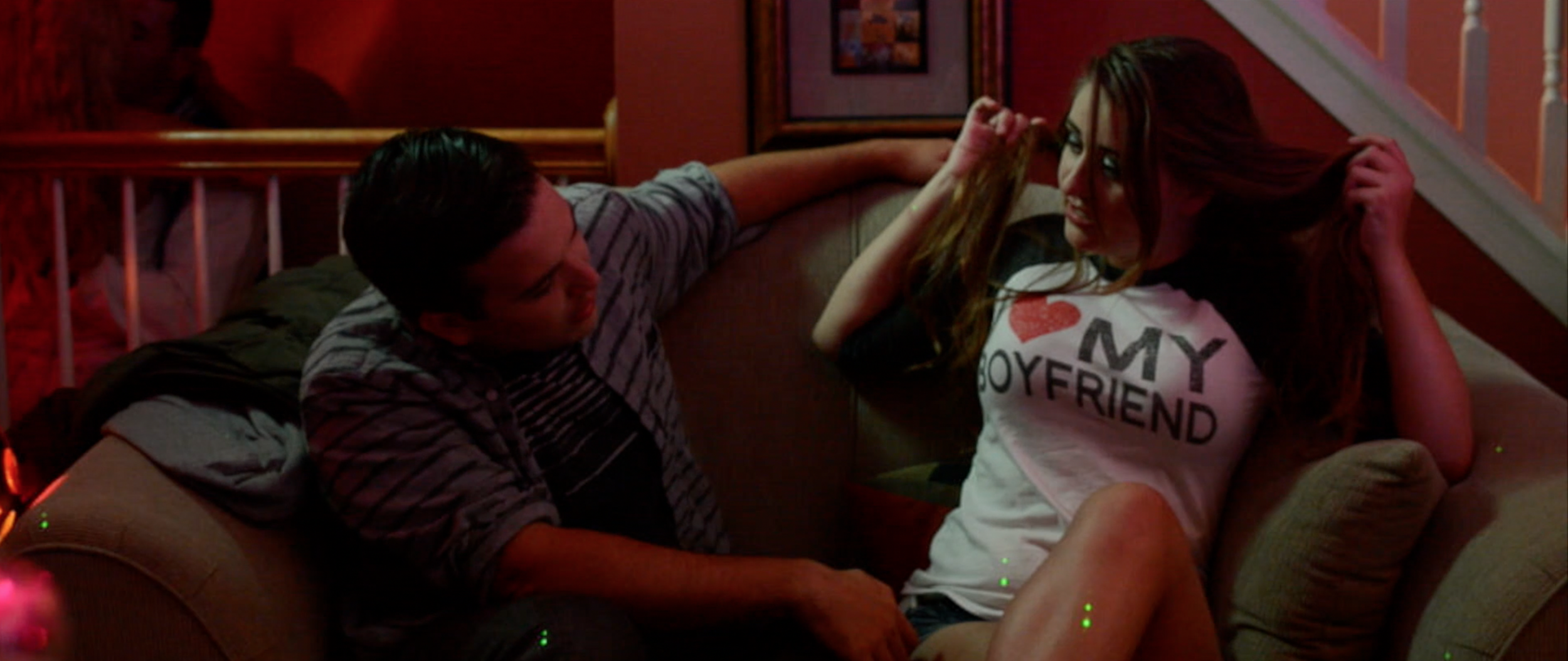 Eli Johnson (Nick Earl)and Addison McKnight (Haley Calhoun) share a moment at the jock's party in  Sincerely, Me.